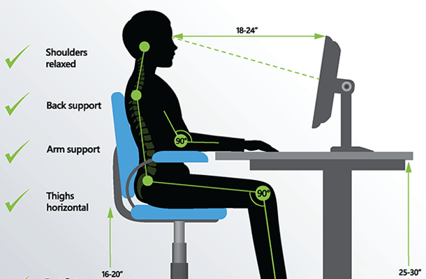 The correct dimensions for having an ergonomic chair and check
